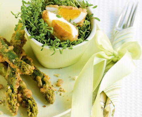 Asparagi e uova in panatura di noci