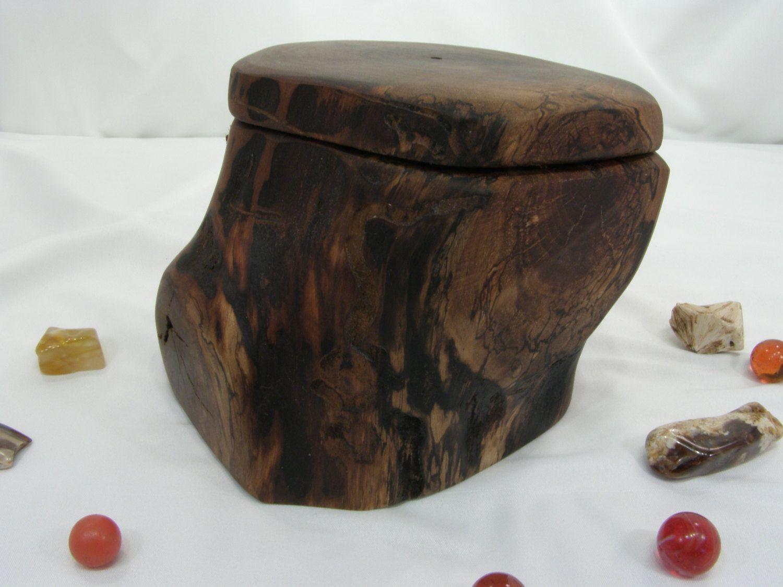 Black Walnut Tree Branch Wooden Box Groom Gift 5th Anniversary Valet Wedding Small Cremation Urn Jewelry