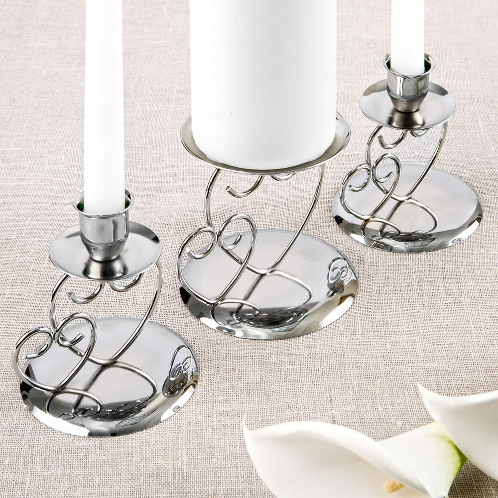 Double Heart Themed Silver Metal Unity Candle Holder Set Wedding
