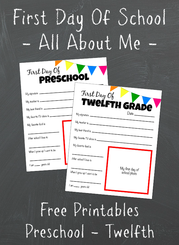 picture relating to Free Printable 1st Day of School Signs called All With regards to Me Totally free Printable Again In the direction of University Back again in direction of