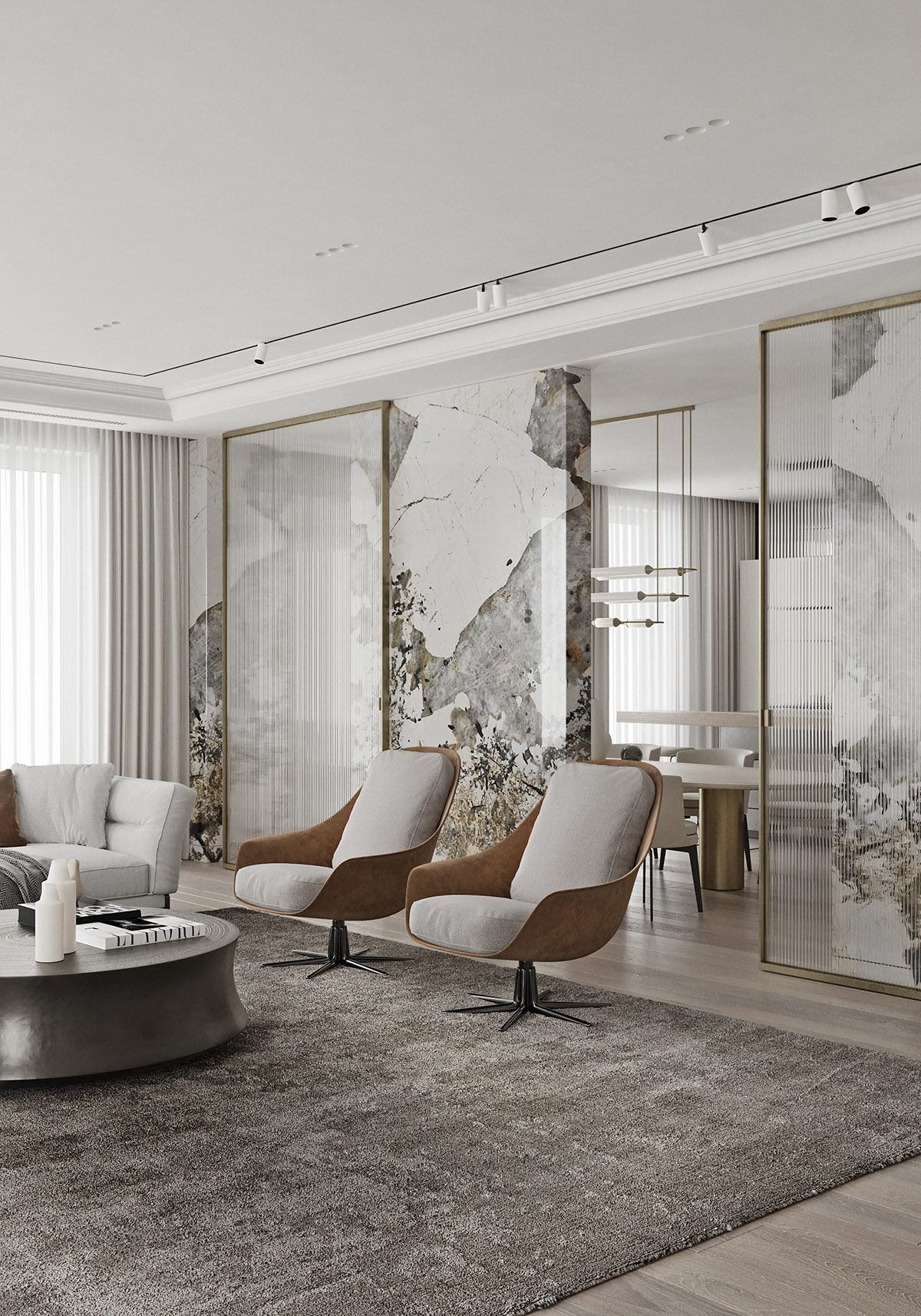 Magnificent Modern Marble Interior With Metallic Accents Marble Interior Living Room Interior Luxury Interior