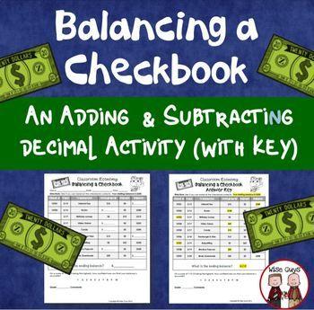 Balancing A Checkbook Activity Part Of Classroom Economy