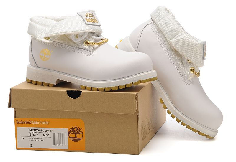 Timberland Authentic Men's Roll Top Boot With Gold White