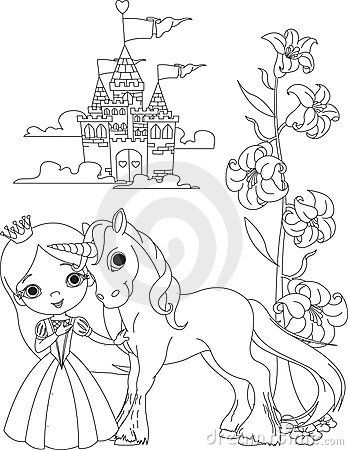 beautiful princess and unicorn coloring page by anna velichkovsky via dreamstime