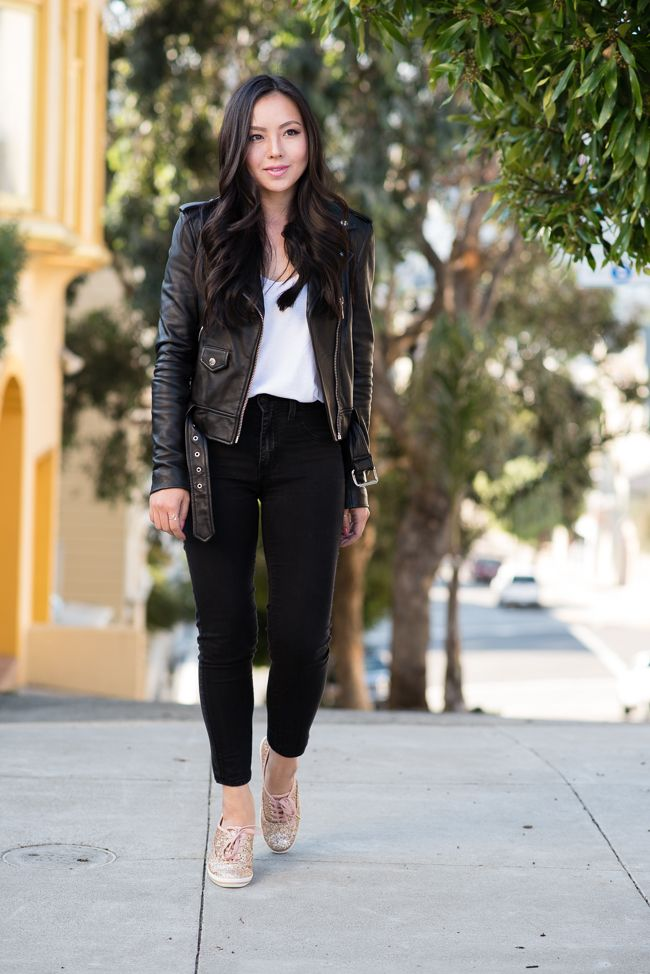 Black Leather Moto Jacket And Gold Glitter Sneakers