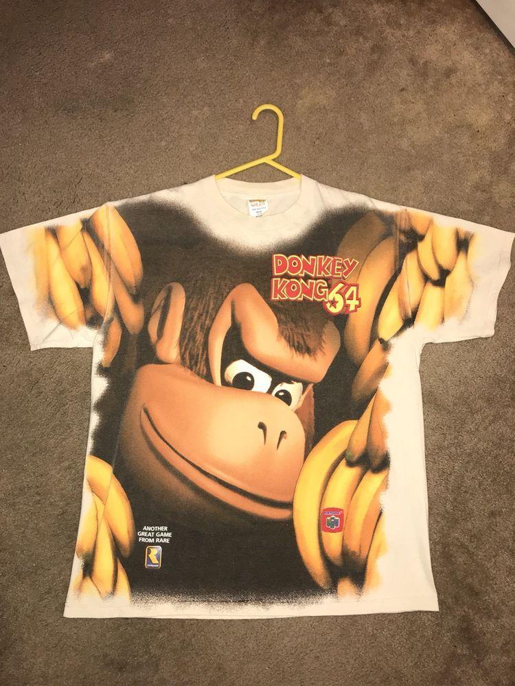 1d70535c77e42 Vintage N64 Donkey Kong 64 All Over Print Shirt XL 90s Nintendo ...