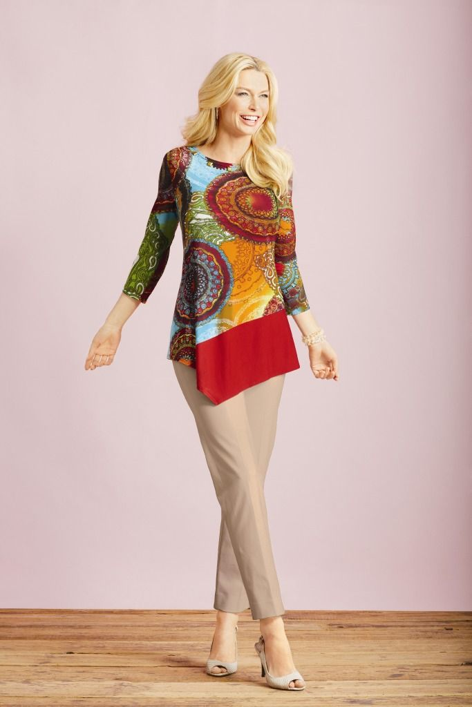 We love the colors and the asymmetrical shape of this tunic