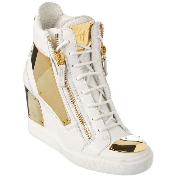 7bea8d9bd8c Giuseppe Zanotti Giuseppe Zanotti Leather Wedge Sneaker ( 495) ❤ liked on  Polyvore featuring shoes