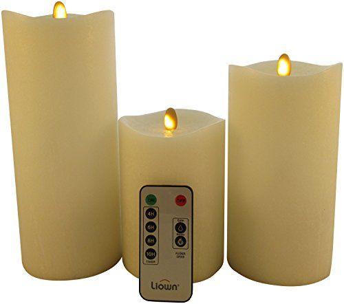 Set of 3 Flameless Pillar Candles by Matrix Flame from Liown