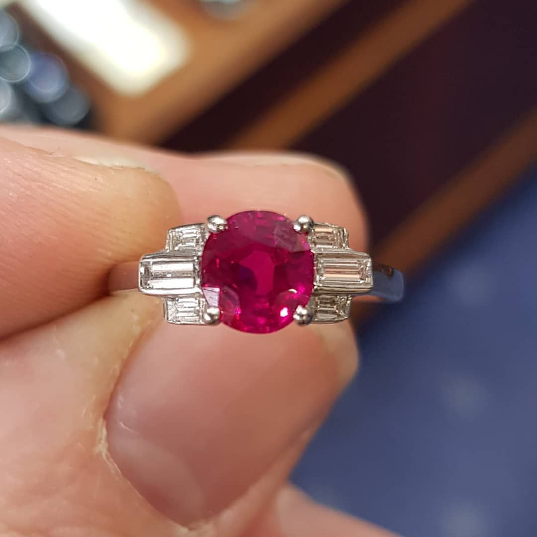 1 26 Carat Burma Ruby No Heat With Baguette Shoulders Ruby Rubyring Ring Jewelryoftheday Diamondring S Jewelry Modern Necklaces Fine Jewelry Collection