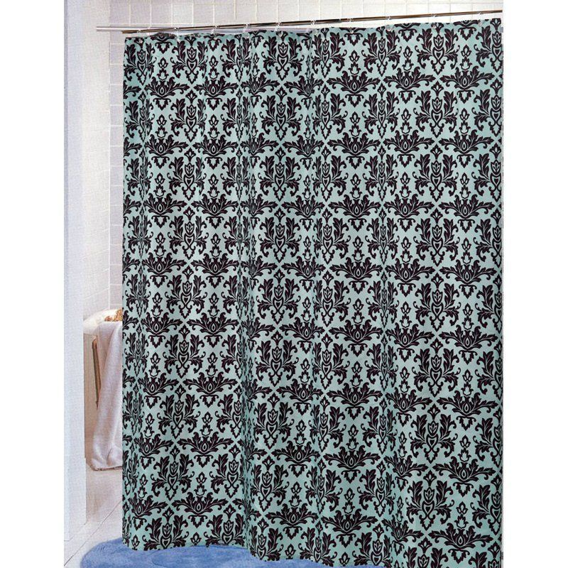 Carnation Home Fashions Damask Fabric Shower Curtain Brown Blue