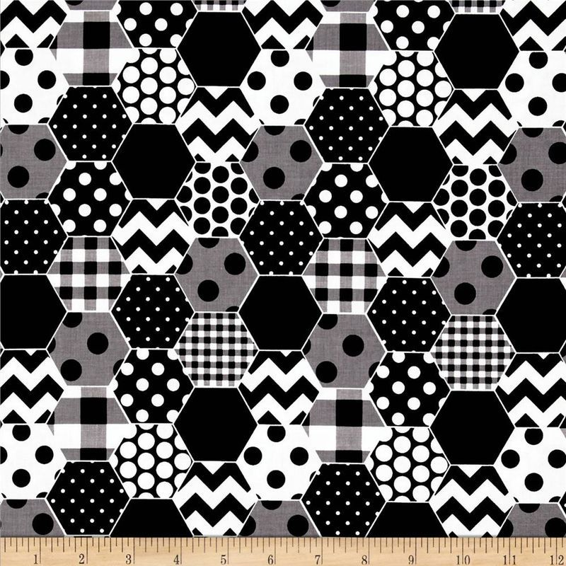 Cotton quilt fabric riley blake hexi print black and white modern