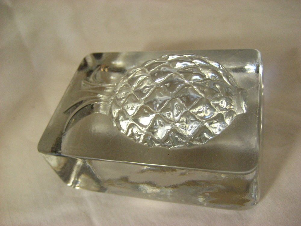 Paperweight Glass Block with raised  Pineapple