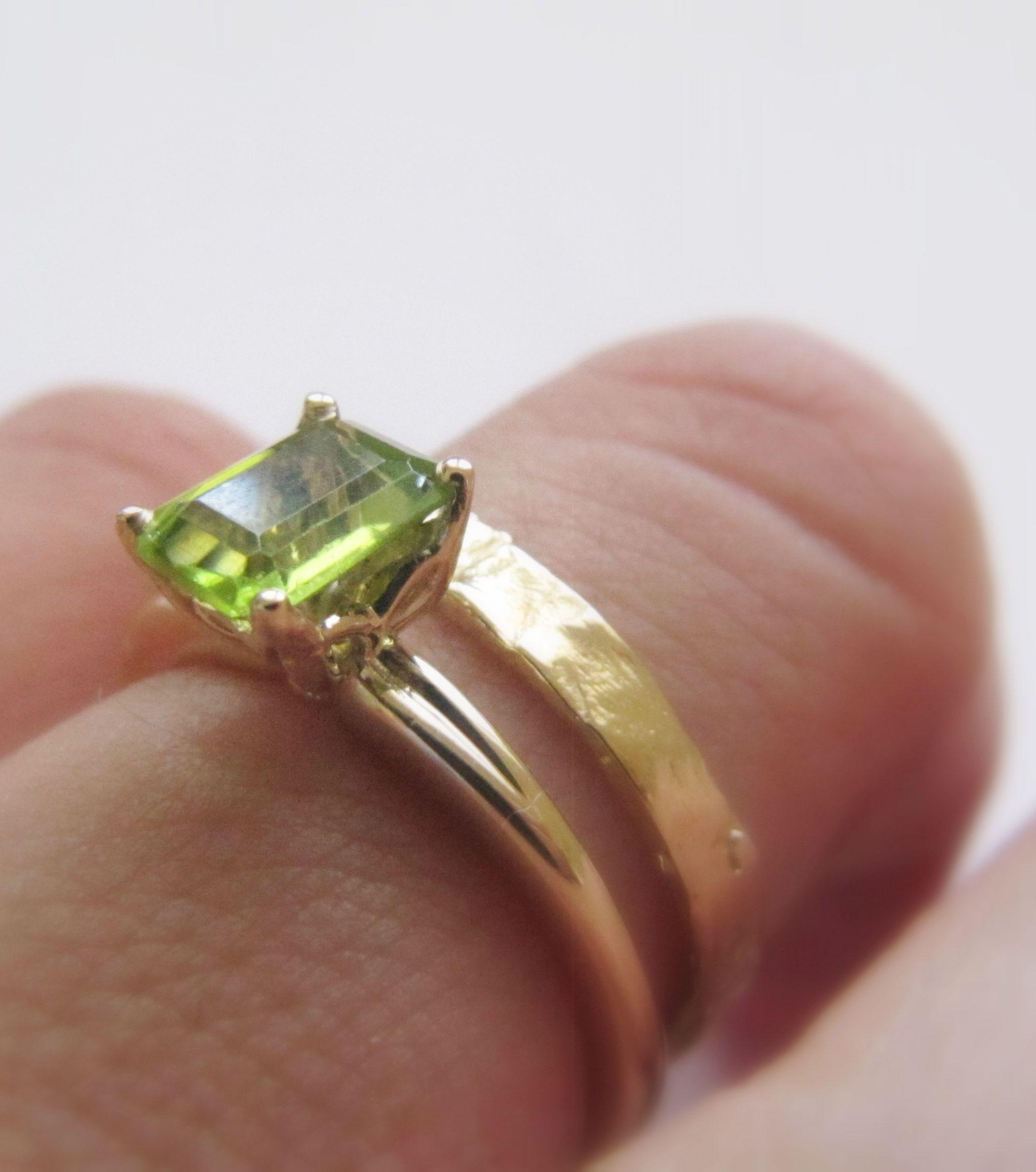 Gold Ring Set Wedding Ring Set Gold Peridot Ring Wedding Etsy Wedding Rings Sets Gold Gold Ring Sets Wedding Ring Sets