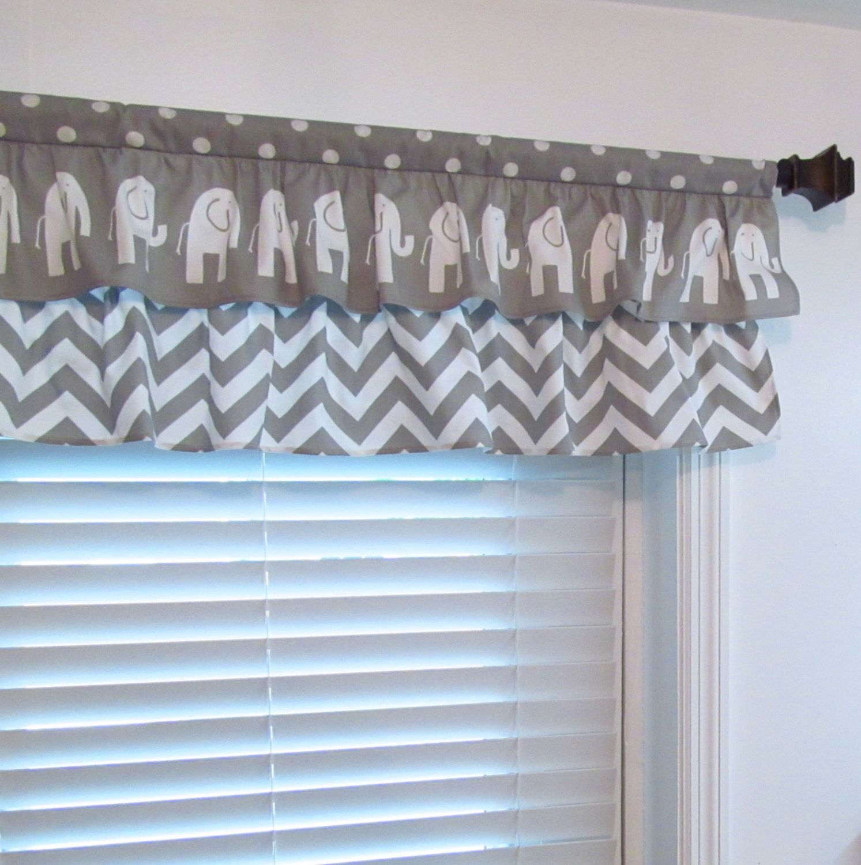 Nursery Decor Two Tiered Curtain Elephant Chevron Polka Dot Gray Valance