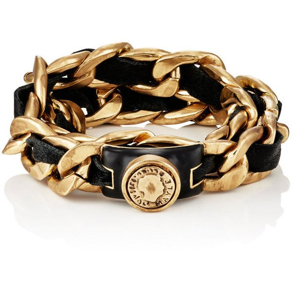 Maison Mayle Womens Leather On Curb-Chain Bracelet S7eyJRub