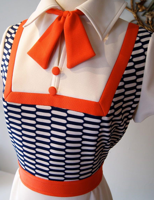 Orange dress casual  Lilli Ann  Manteau et Robe  Blanc Marine et Orange  Années