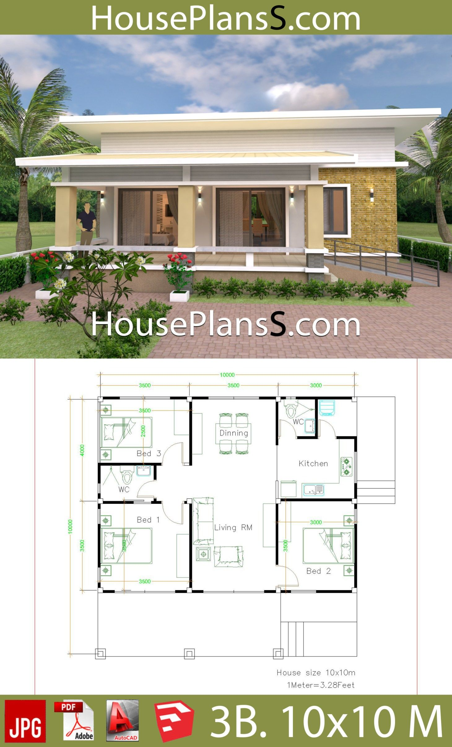 Decorating A 10x10 Bedroom: House Design Plans 10x10 With 3 Bedrooms Full Interior
