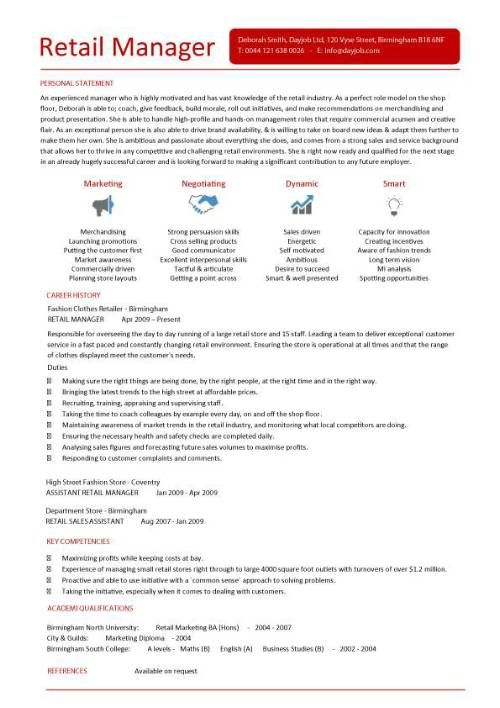 Retail CV template, sales environment, sales assistant CV, shop - sales director job description