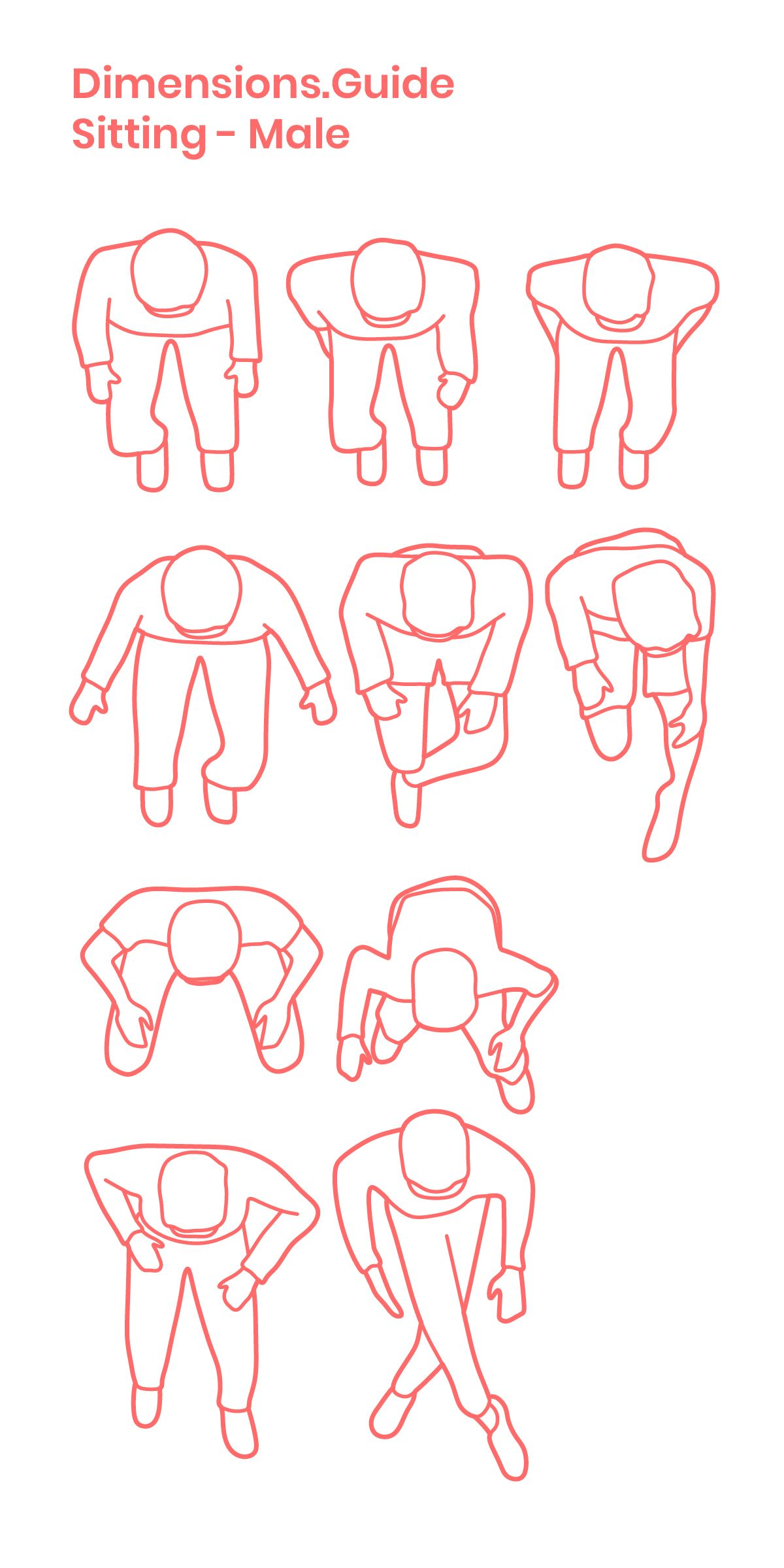 Collection Of Scaled Drawings Of Men Sitting As Viewed From An