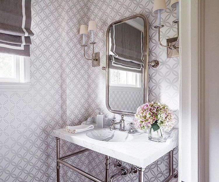 """Schumacher on Instagram """"A powder room with sophisticated"""