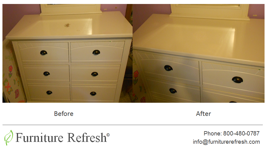 4dad5b9f5f28 White Dresser  Nail-polish stain mark damages and multiple scratches.   Furniture  Dresser  Repair  Restoration  Refinishing  Scratch