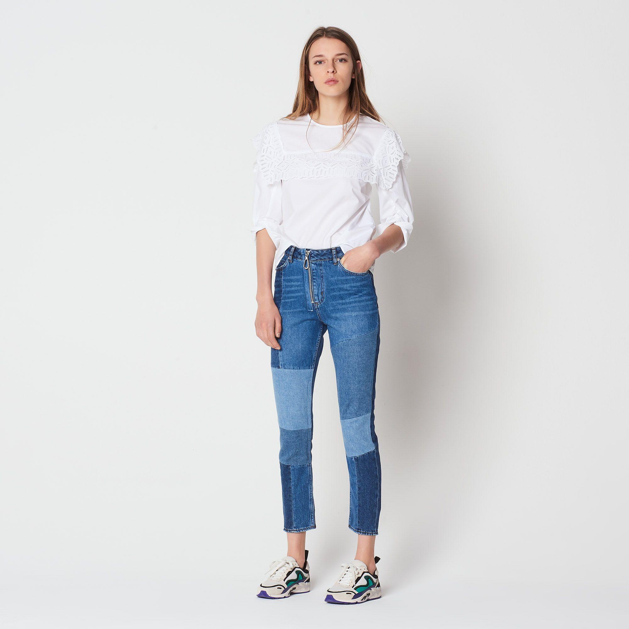ae8f3cc42b3a Patchwork cotton jeans with zip - Jeans - Sandro-paris.com | denim ...