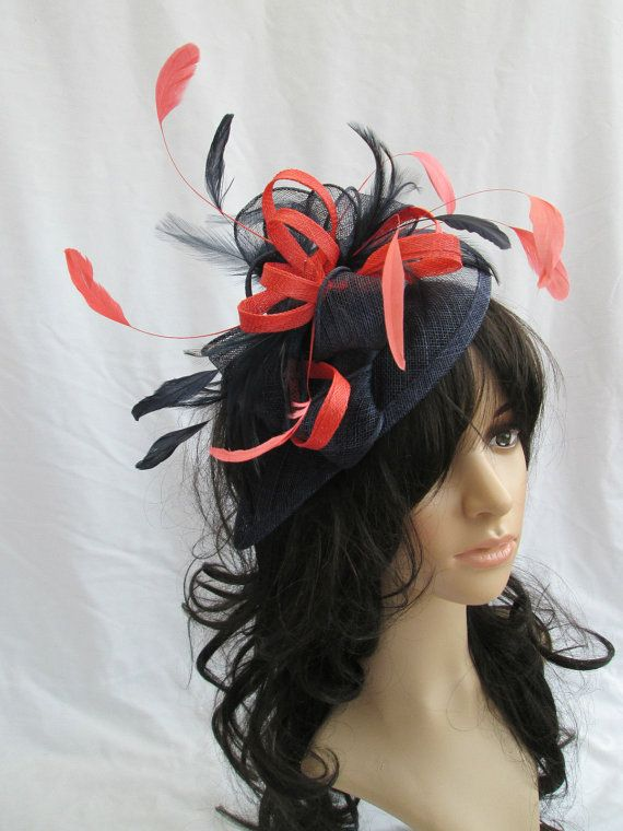 clip Navy blue and silver hatinator style fascinator with comb /& alice band.