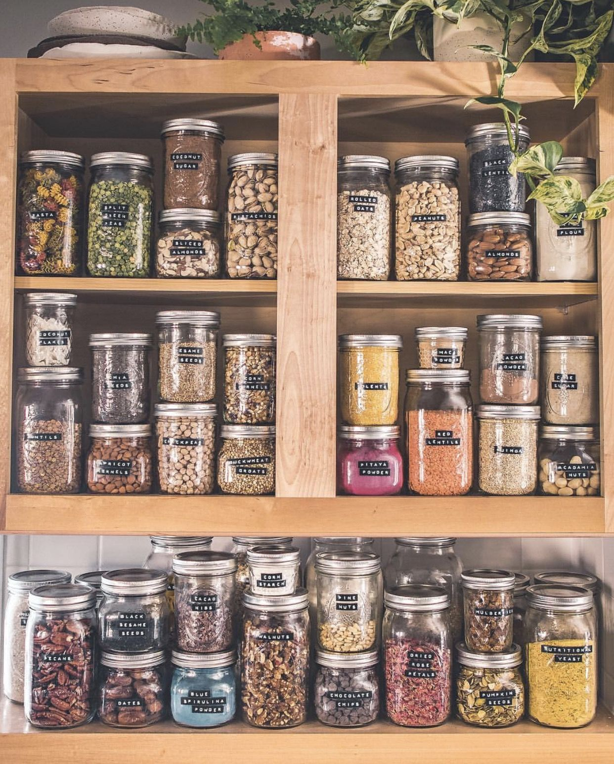 I love this! It is real! Glass jar storage is the best! #pantryorganizationideas