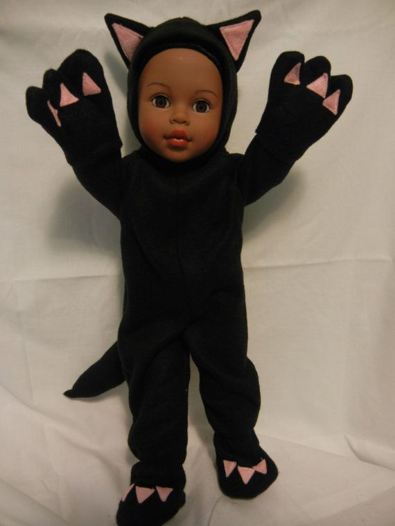 Adorable BLACK CAT fleece suit fits 18 doll & Free by MaresMagic, $24.00