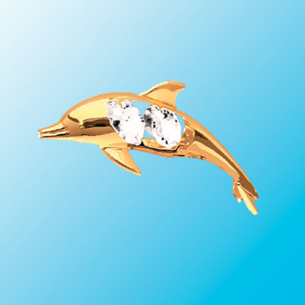 Dolphin in Flight Suncatcher - Swarovski Crystal Elements  --  We confess! The image does not do justice to this finely crafted dolphin suncatcher. Fashioned in 24k gold plated finish and accented with a clear crystal (Swarovski element), we know you will enjoy seeing this playful dolphin gleaming on a window or mirror. The dolphin can convert to a magnet with a simple adapter. So, enjoy and move it around. Great gift, too.