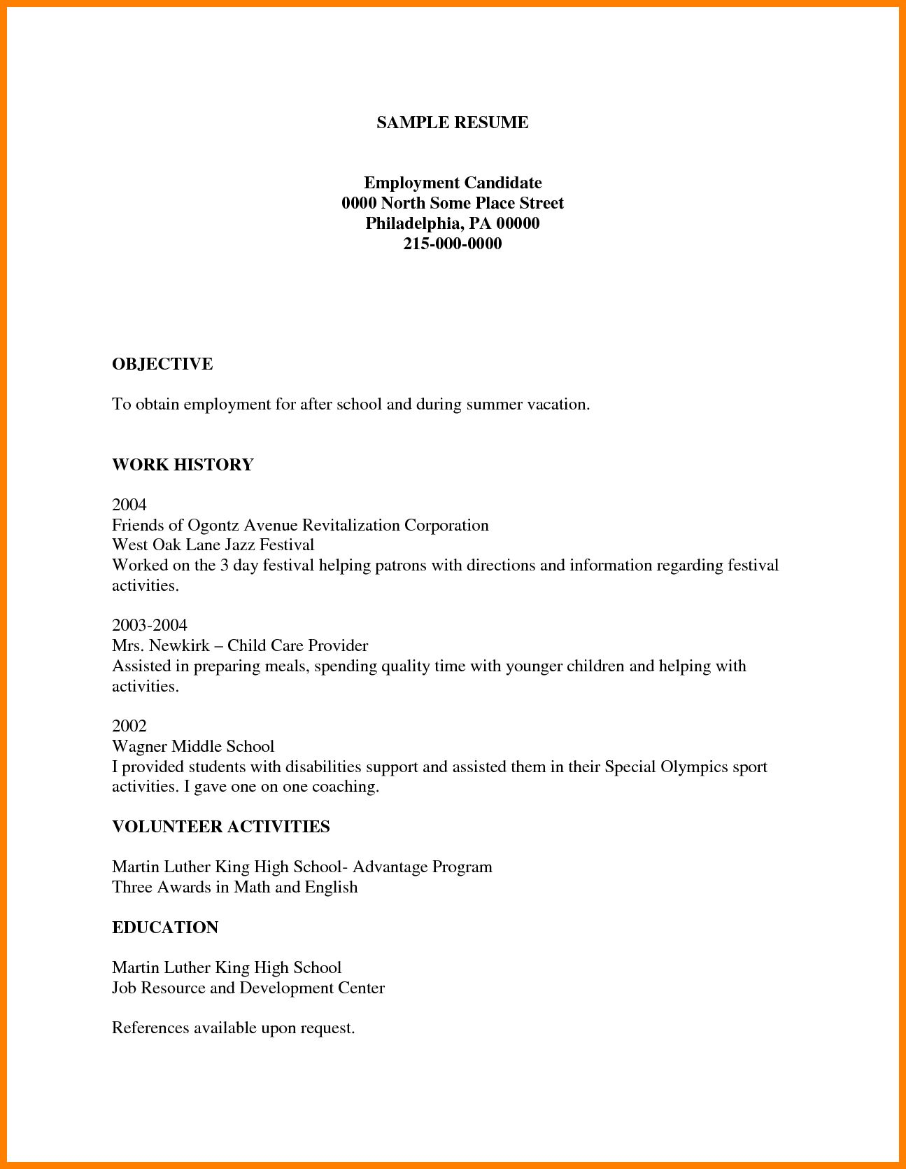 Blank Student Resume Template