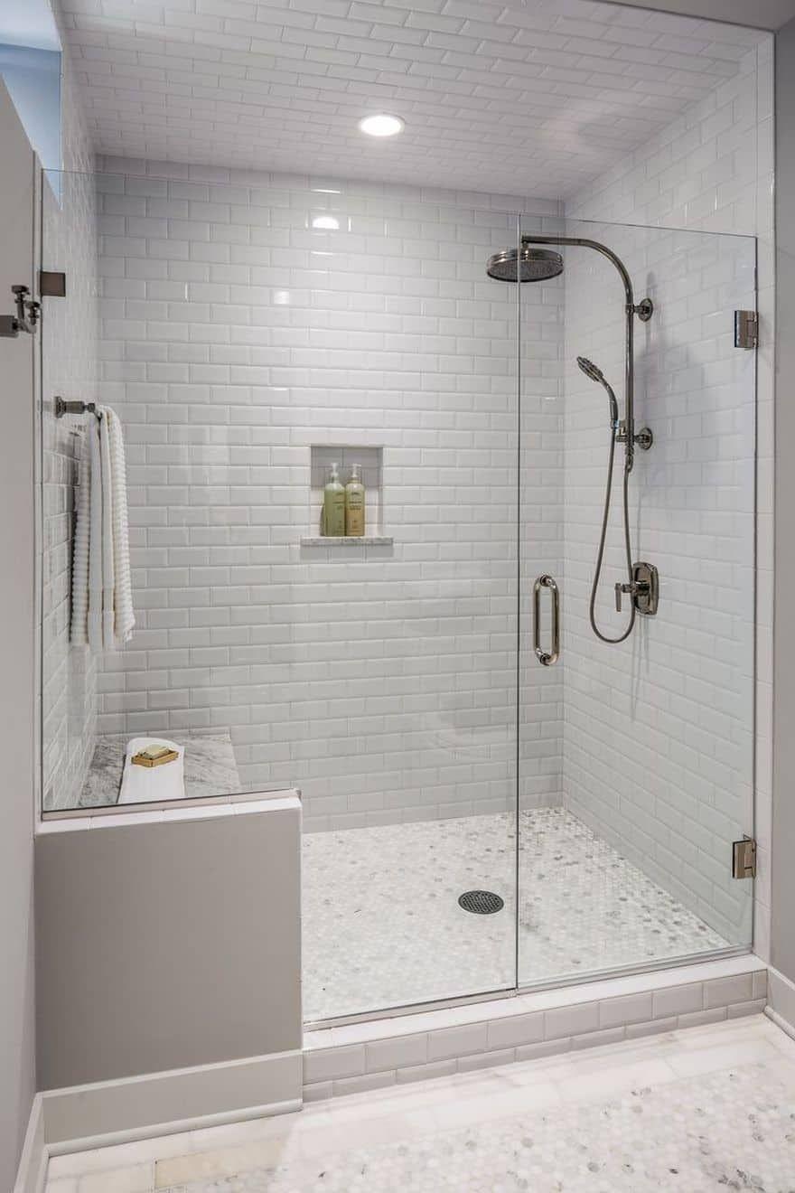37 Best Walk In Shower Tile Ideas That Will Inspire You Walkinshower Walkinshowerideas Tilei Bathroom Remodel Shower Master Bathroom Shower Farmhouse Shower