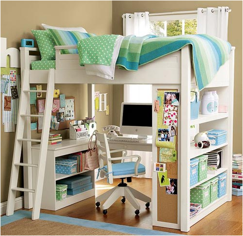 Amazing Great Idea For Either Boyu0027s Or Girls Room   Storage, Desk Area, Storage And A  Bed. What A Way To Utilize A Small Room. Use Book Shelves, Ladder, ...