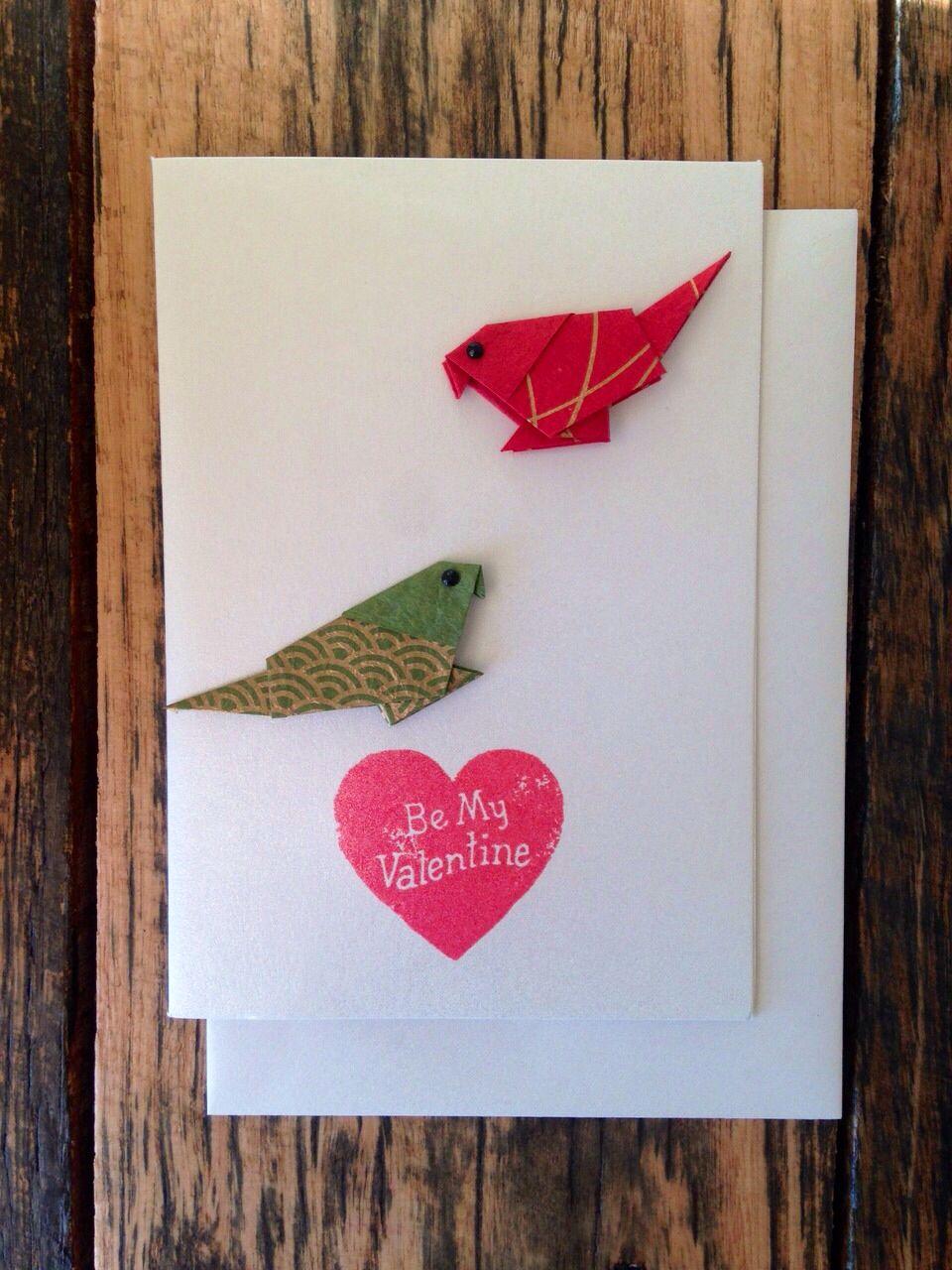 handmade origami valentine's greeting card  birds in love
