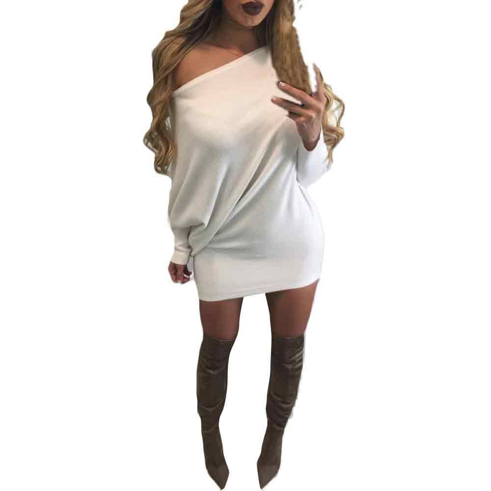 Ladies long sleeve strapless bat sleeve knitting slim sweater white