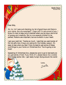 This Printable Letter From Santa Claus To A Little Boy Thanks Him