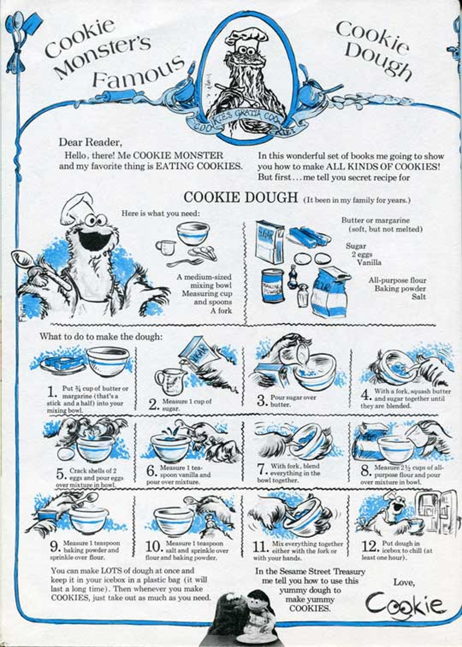 So You Know: Cookie Monster\'s Famous Sugar Cookie Dough Recipe ...