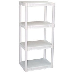 Utility Shelves Walmart Fascinating Walmart $1347 Plano 4Tier Heavyduty Plastic Shelves White  New Review