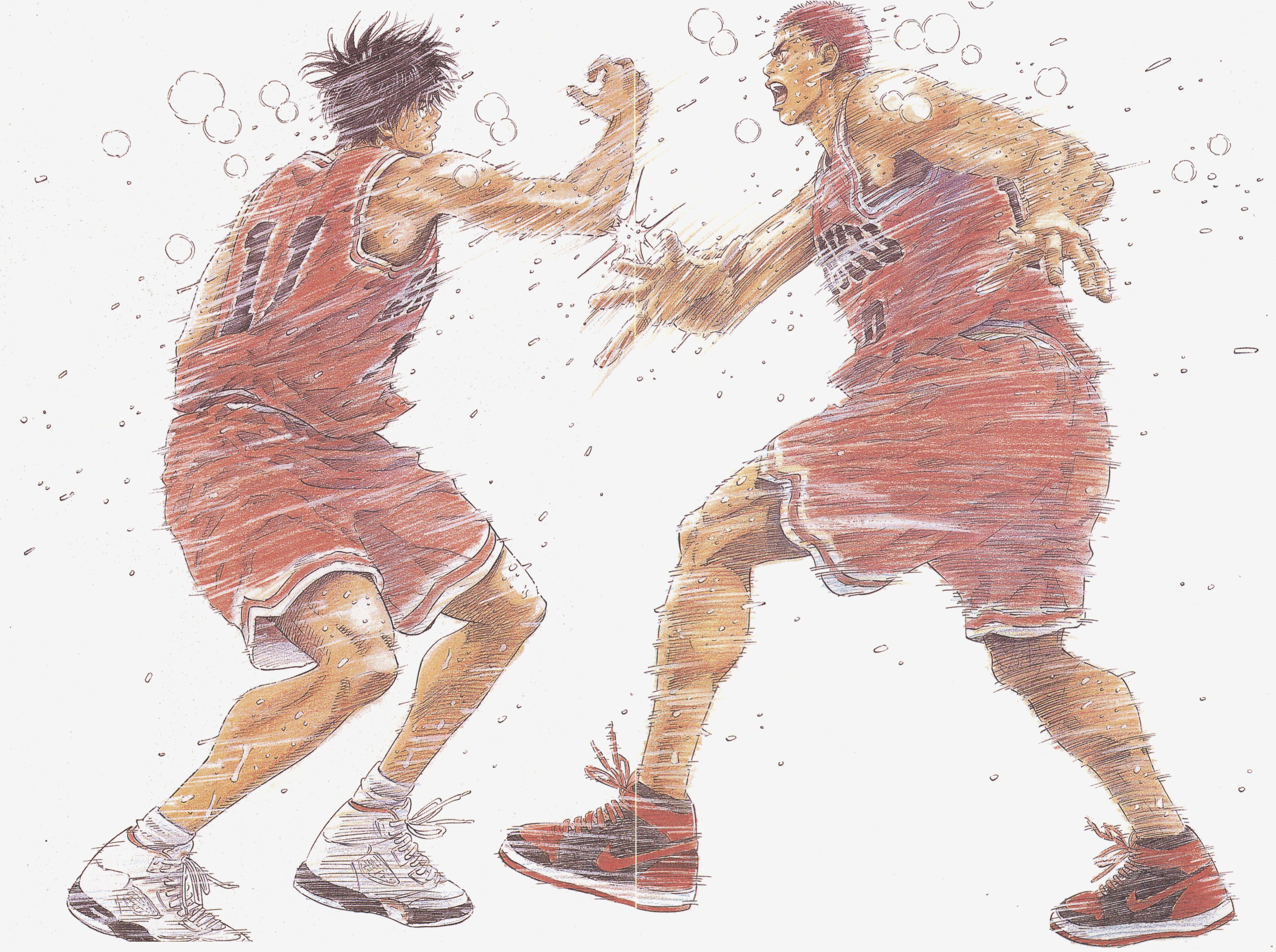 Slam Dunk In motion, mangastyle Rukawa & Hanamichi