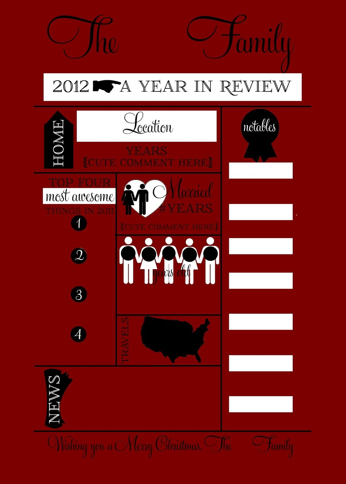2012 Year in Review Infographic Cards. Template for a