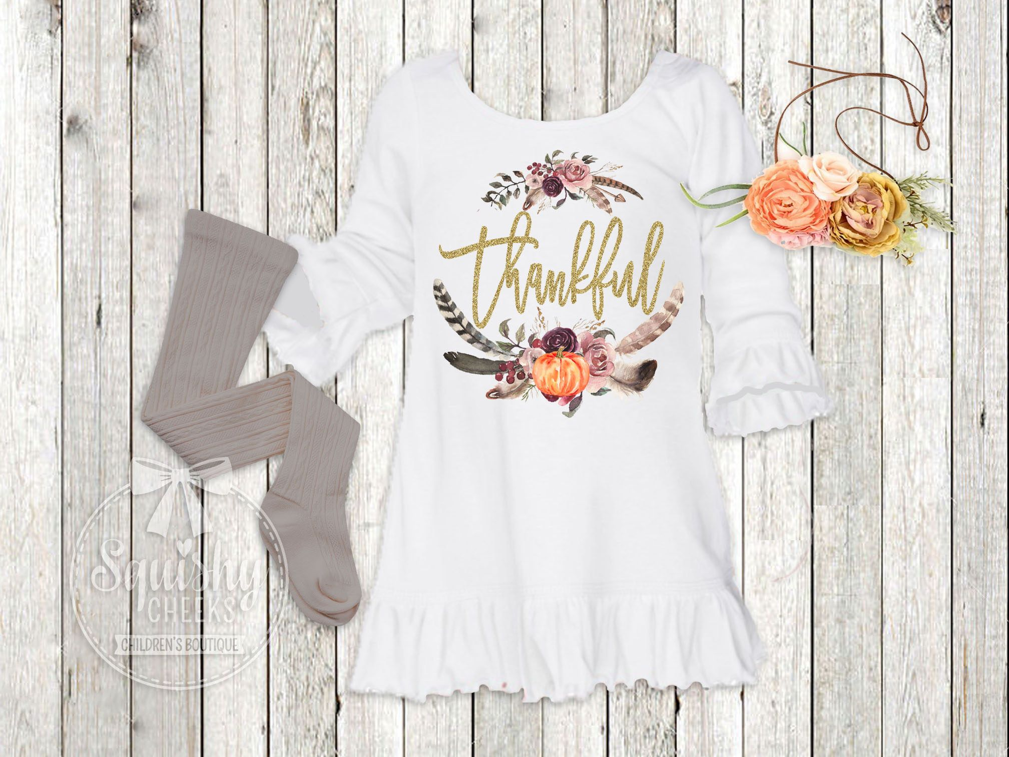 Girls Thanksgiving Dress Fall Boho Girl Clothes Baby Girl Thankful