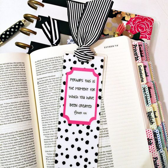 Choose the polka dot Esther 4:14 or the gingham Colossians 3:23 and either way, youll have the cutest bookmark! You will receive one