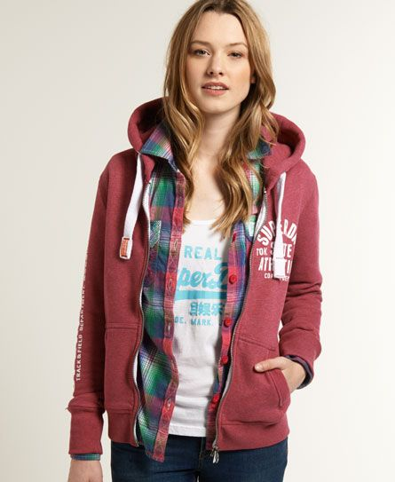 Shop Superdry Womens Track & Field Zip Hoodie in Cherry Marl. Buy now with  free delivery from the Official Superdry Store.