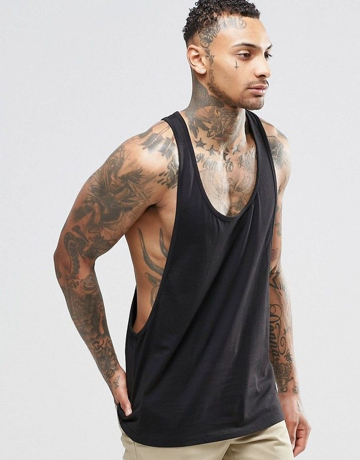 f8359f4642919 ASOS Tank With Extreme Dropped Armhole And Racer Back In Black Mens Tee  Shirts