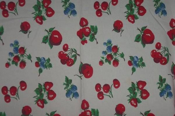 Vintage Inspired TableCloth  Cherries,strawberries Crate & Barrel Cottage Apples