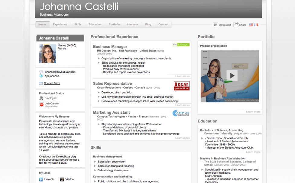 Writing A Resume Is Made Easy With Doyoubuzz Cv App Good Resume Examples Career Marketing Effective Resume