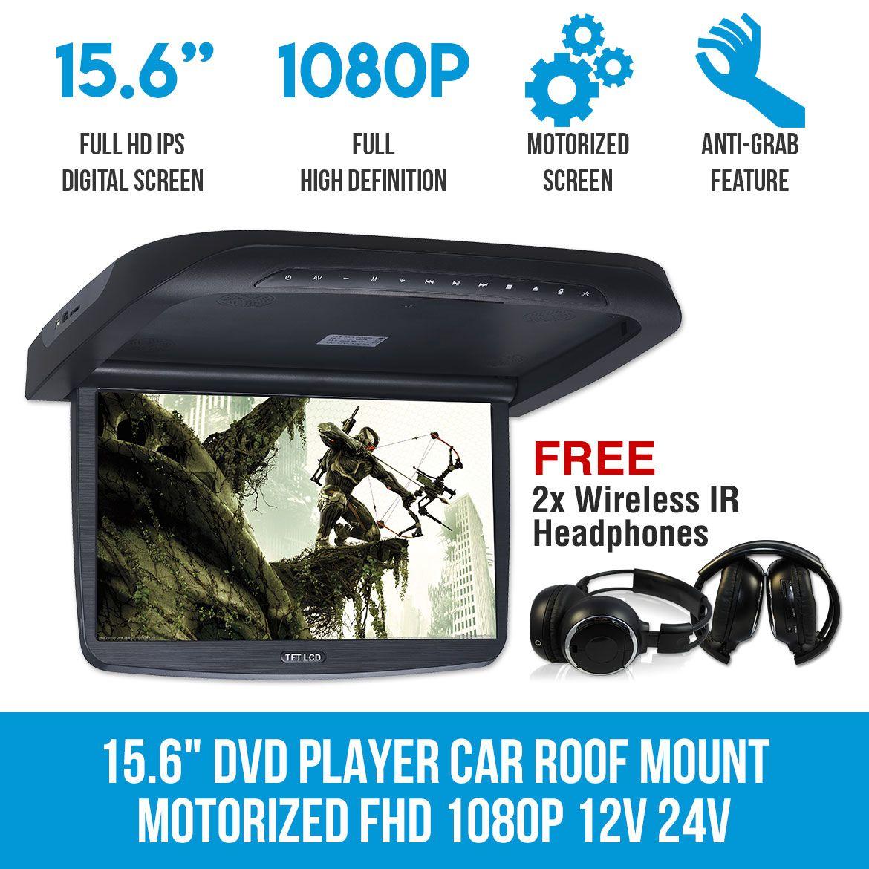 15 6 Dvd Player Car Roof Mount Motorized Fhd 1080p 12v 24v Bus Van Motorhome Headrest Dvd Player Dvd Player Headrest Dvd