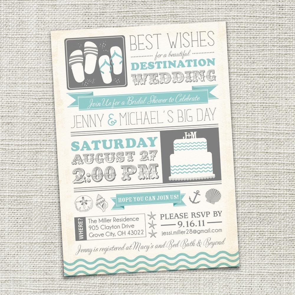Cute!! Bridal Shower Invitation, Beach, D… Destination