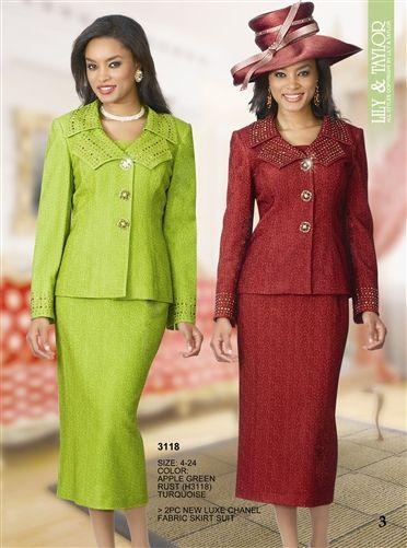 GearCloset.net - Green Or Red Lavish Womens Church Suit